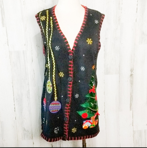 CHRISTMAS Ugly Sweater Vest Black 1X